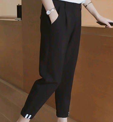 EASON SHOP(GU1997)黑色運動褲女長褲條紋鬆緊腰提臀九分褲大碼顯瘦錐形西裝褲女韓版高腰休閒哈倫褲