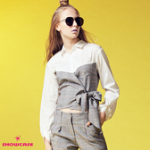 【SHOWCASE】OL格紋拼接交叉收腰綁帶簡約設計襯衫(灰色)