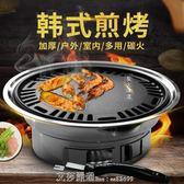 圓形燒烤爐戶外木炭全套不銹鋼韓式無煙家用商用燒烤架烤肉鍋煎盤 220V 艾莎嚴選YYJ