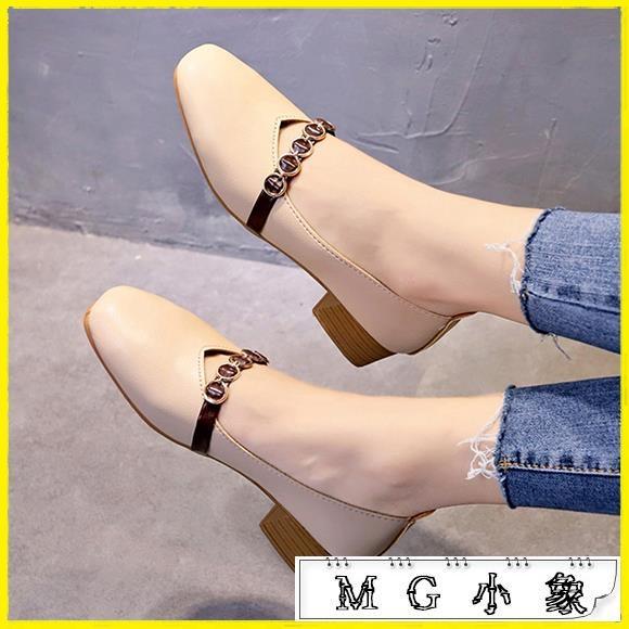MG 粗跟鞋-韓版豆豆鞋中跟單鞋奶奶鞋