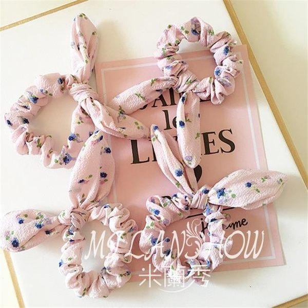 粉色水仙花款 兔耳朵 發圈發繩頭花皮筋 米蘭shoe