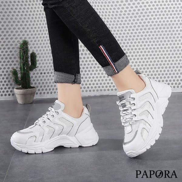 PAPORA逛街必備休閒老爹布鞋K8852黑/米/白(偏小)