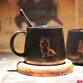 黃金單身狗磨砂啞光黑色帶勺創意卡通咖啡杯配底座一次元