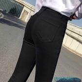 打底褲 純黑色牛仔褲女小腳高腰九分褲顯瘦新款彈力緊身顯高鉛筆八分褲女 快速出貨