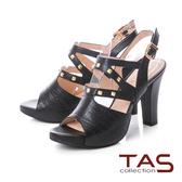 TAS 鱷魚紋側鏤空鉚釘寬繫帶高跟涼鞋-性感黑