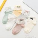 襪子 女童襪子春秋薄款兒童純棉網眼透氣白色蕾絲花邊公主襪秋季中筒襪 快速出貨