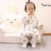 秋冬季嬰兒童法蘭絨兔子睡袋寶寶加絨加厚雙層連身睡衣爬服家居服   米娜小鋪