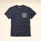 Hollister HCO T-Shirt  經典海鷗刺繡配色口袋男款短T-麻花藍
