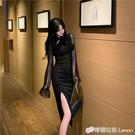女士改良版旗袍春夏季氣質網紗燈籠袖暗黑系性感洋裝女裝潮