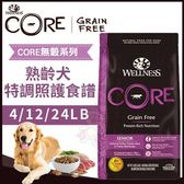 *WANG*Wellness《CORE無穀系列-熟齡犬 特調照護食譜》24磅/包 狗飼料