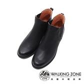 WALKING ZONE (女)造型拼接粗跟短筒靴 女鞋-黑(另有咖)