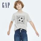 Gap男童 純棉童趣印花短袖T恤 733839-灰色
