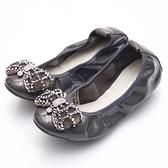 G.Ms. 鑽飾蝴蝶結-柔軟彎折牛漆皮平底娃娃鞋-灰色
