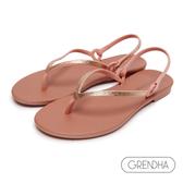 GRENDHA 晶鑽人字帶時尚夾腳涼鞋-粉橘/金