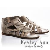 ★2018春夏★Keeley Ann極簡復古~交叉編織風金屬飾釦全真皮微內增高涼鞋(灰色)