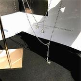 【新年鉅惠】[為晚]s925純銀短項鏈鎖骨鏈女五角星月亮吊墜鑲鉆日韓國氣質時尚