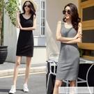 背心短裙短款吊帶洋裝2021夏莫代爾包臀黑色打底短裙背心裙 女神購物節