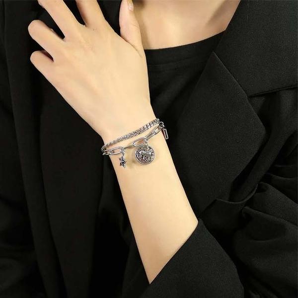 【5折超值價】鈦鋼手鍊復古五角星大象鈦鋼女款手鍊