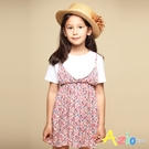 Azio 女童 洋裝 滿版彩色小花印花假兩件吊帶短袖洋裝(粉) Azio Kids 美國派 童裝