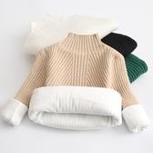 兒童毛衣 女童毛衣2019新款兒童套頭針織打底衫中童寶寶加絨半高領白色黑色【限時八折】