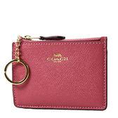 美國正品 COACH 素面防刮皮革證件鑰匙零錢包-莓紅色【現貨】