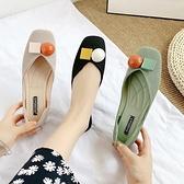 豆豆鞋夏季軟底方頭淺口一腳蹬奶奶鞋中空孕婦單鞋【慢客生活】
