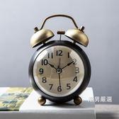 鬧鐘 靜音鬧鐘創意時鐘學生起床神器床頭鐘復古機械小鬧鐘臥室個性鐘錶 一色可選