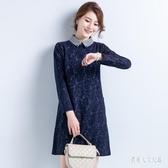 中大尺碼洋裝 2020加絨加厚大碼蕾絲連身裙中長款韓版時尚氣質長裙 yu9909『俏美人大尺碼』
