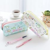 創意文具 女生個性黑白卡通帆布大容量筆袋 可愛大拉鍊筆包