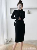 秋冬2020新款半高領過膝毛衣裙女中長款小個子打底針織包臀連身裙 極速出貨