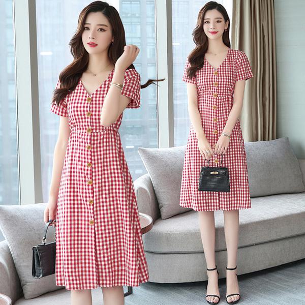 清倉$388 韓國風復古V領寬鬆紐扣收腰格紋短袖洋裝