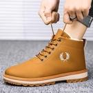 男靴 男鞋冬季馬丁靴男潮中幫英倫工裝加絨...