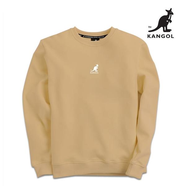 KANGOL 袋鼠 - 中間刺繡袋鼠小LOGO大學T 珍珠奶茶【60551046】
