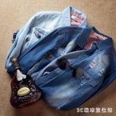 中大尺碼牛仔襯衫 秋季男士牛仔襯衫男長袖襯衣外套韓版修身型薄款上衣LB6817【3C環球數位館】