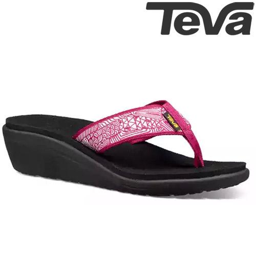 TEVA《女款》超輕量舒適記憶鞋床寬版織帶夾腳拖 Voya Wedge - 莓果紫紅