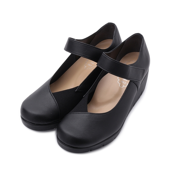 FIRST CONTACT 拼布魔鬼氈楔型鞋 黑 39616 女鞋