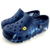 《7+1童鞋》輕量 防水 休閒 布希 涼拖鞋 D176  藍色
