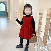 女童呢子背心連身裙寶寶兒童紅色公主裙子【奇趣小屋】