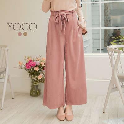 東京著衣【YOCO】輕甜時髦麂皮絨感蝴蝶結寬褲-S.M.L(172478)