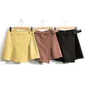秋冬新品[H2O]仿一片裙設計短褲裙 - 黃/黑/紅咖色 #0638001