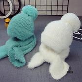 兒童帽子女童毛線帽圍巾套裝男童帽【愛物及屋】