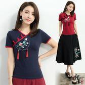 女民族風短袖棉T恤衫吊須大尺碼顯瘦V領女上衣