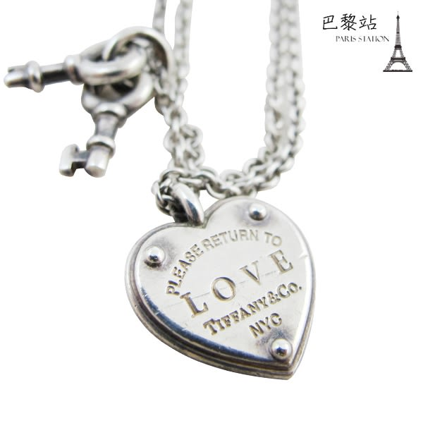 【巴黎站二手名牌專賣店】*現貨*Tiffany&Co 真品*LOVE刻字愛心鎖鑰匙925純銀雙鍊手鍊