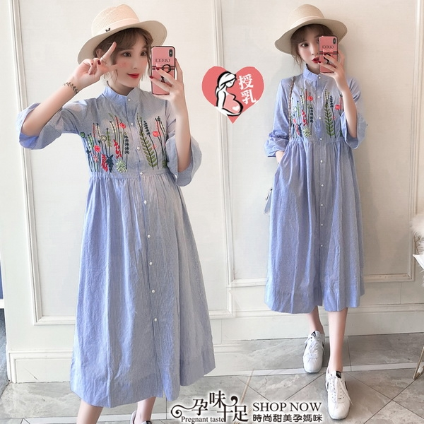 花草圖案娃娃領孕婦哺乳【可開扣式】洋裝 藍色【CWH106001】孕味十足 孕婦裝