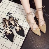 羅馬繫帶尖頭平底女包頭中空涼鞋平跟絨面杏色黑色涼鞋『伊莎公主』