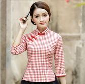春裝新款民族風女裝復古盤扣手繪棉麻中國風改良漢服茶服上衣