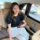 韓國製.氣質百搭素面皺皺微透膚感公主袖上衣.白鳥麗子