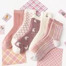粉色系列兔子加厚大人中筒襪 大人襪 襪子 中筒襪