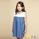 Azio 女童 洋裝 領口袖口蕾絲造型藍色牛仔接片短袖洋裝(藍) Azio Kids 美國派 童裝