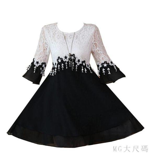 大碼女裝夏季新款雪紡洋裝拼接蕾絲短袖寬鬆顯瘦遮肚洋氣連衣裙 EY6051 『M&G大尺碼』